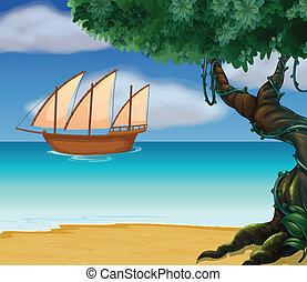 un, barco, cerca, el, playa
