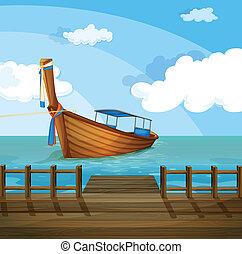 un, barco, cerca, el, puerto marítimo
