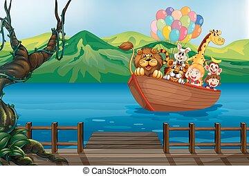 un, barco, con, animales