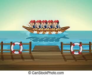 un, barco, con, hombres