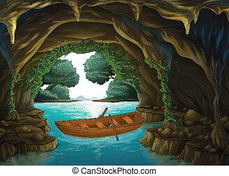 un, barco, en, el, cueva