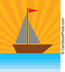 un, barco, en, mar