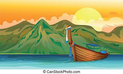 un, barco, flotar