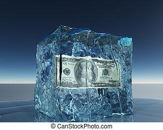 un billete de cien dólares, congelado, en, hielo