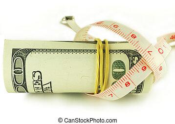 un billete de cien dólares, rollo, -, dólar, grows, delgado