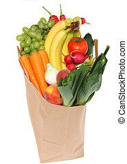 un, bolso de la tienda de comestibles, lleno, de, sano, fruits
