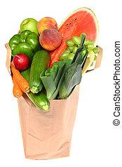 un, bolso de la tienda de comestibles, lleno, de, sano, frutas y vehículos