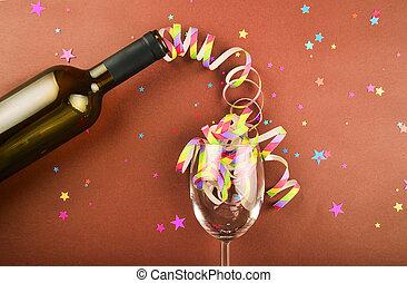 un, botella de vino, en, festivo, decoración