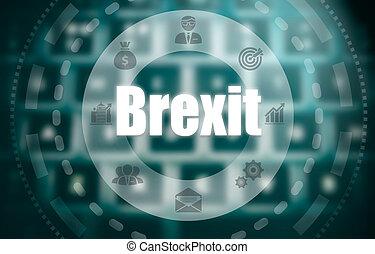 un, brexit, concepto, en, un, futurista, computadora, exhibición, encima, un, blured, imagen, de, un, keyboard.
