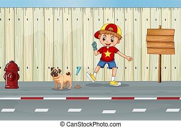 un, bueno, niño, limpieza, perro, poo