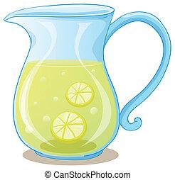 un, cántaro, de, jugo del limón