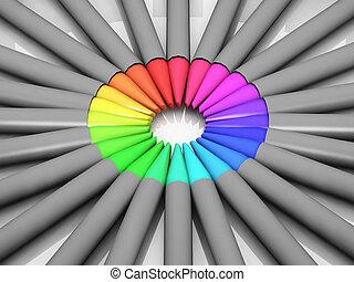 un, círculo, de, lápices de color