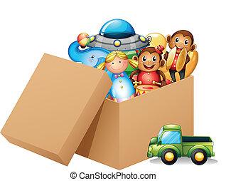 un, caja, lleno, de, diferente, juguetes