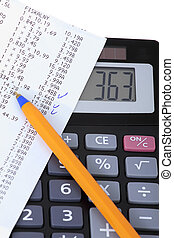un, calculadora, con, recibo, casa factura