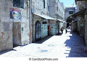 un, calle, en, el, viejo, árabe, cuarto, de, jerusalén