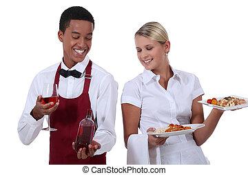 un, camarero de vino, actuación, un, botella, a, un, camarera