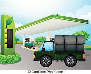 un, camión, cerca, el, gasolinera