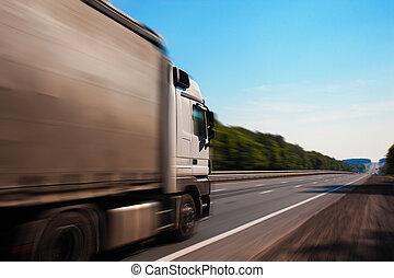 un, camión, es, conducción, abajo, el, camino