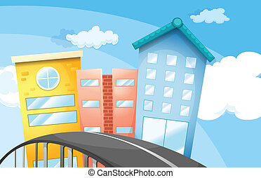 un, camino, cerca, el, alto, edificios