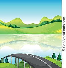 un, camino, puente, cerca, el, lago