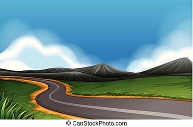 un, camino rural, paisaje