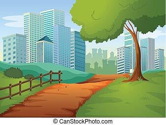 un, camino, yendo, a, el, alto, edificios