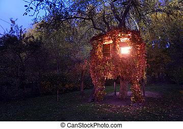 un, casa, en, un, árbol