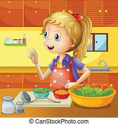 un, chef joven, en la cocina