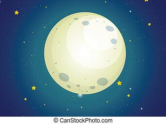 un, cielo, con, estrellas, y, un, luna