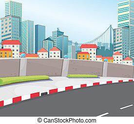 un, ciudad, con, alto, edificios