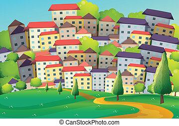 un, ciudad, con, alto, edificios, y, alto, árboles