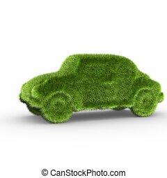 un, coche, cubierto, con, pasto o césped, symbolizing, un,...