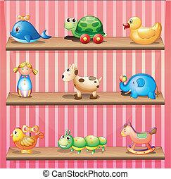 un, colección, de, el, colorido, juguetes