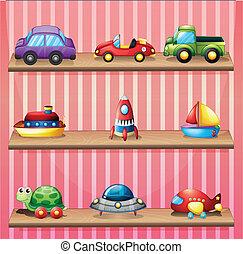 un, colección, de, juguetes
