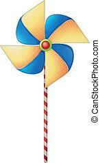 un, colorido, molino de viento, juguete