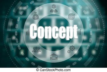 un, concepto, en, un, futurista, computadora, exhibición, encima, un, blured, imagen, de, un, keyboard.