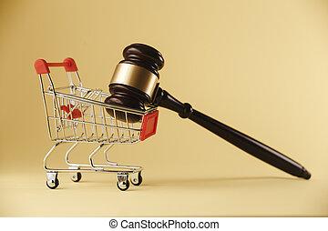 un, concepto, imagen, de, compras, y, ley