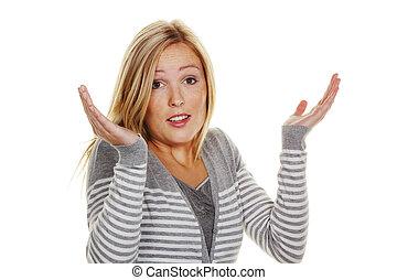 un, confiado, mujer, shrugs., encoger, de, impotencia, y