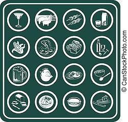 un, conjunto, de, alimento y bebida, iconos