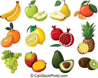 un, conjunto, de, delicioso, fruit., aislado
