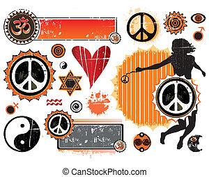 un, conjunto, de, esotérico, símbolos