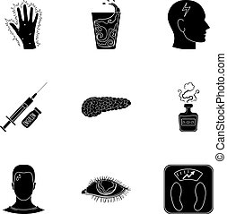 un, conjunto, de, iconos, sobre, diabetes, mellitus., síntomas, y, tratamiento, de, diabetes., diabetes, icono, en, conjunto, colección, en, negro, estilo, vector, símbolo, acción, illustration.