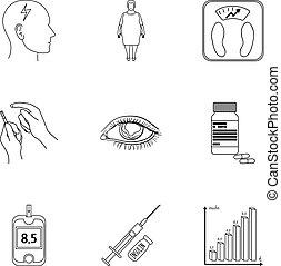 un, conjunto, de, iconos, sobre, diabetes, mellitus., síntomas, y, tratamiento, de, diabetes., diabetes, icono, en, conjunto, colección, en, contorno, estilo, vector, símbolo, acción, illustration.