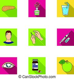 un, conjunto, de, iconos, sobre, diabetes, mellitus., síntomas, y, tratamiento, de, diabetes., diabetes, icono, en, conjunto, colección, en, plano, estilo, vector, símbolo, acción, illustration.