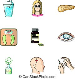 un, conjunto, de, iconos, sobre, diabetes, mellitus., síntomas, y, tratamiento, de, diabetes., diabetes, icono, en, conjunto, colección, en, caricatura, estilo, vector, símbolo, acción, illustration.
