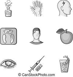 un, conjunto, de, iconos, sobre, diabetes, mellitus., síntomas, y, tratamiento, de, diabetes., diabetes, icono, en, conjunto, colección, en, monocromo, estilo, vector, símbolo, acción, illustration.