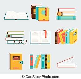 un, conjunto, de, libros, plano, estilo