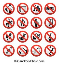 un, conjunto, de, señales, prohibir