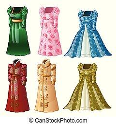 un, conjunto, de, vendimia, damas, largo, vestidos, aislado, blanco, fondo., vector, primer plano, caricatura, ilustración