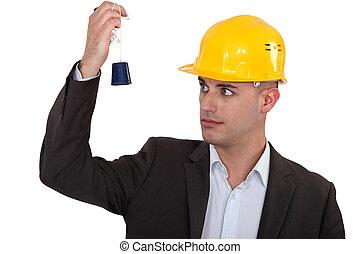 un, construcción, director, mirar, un, plomo